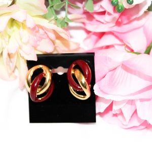 Napier Vintage Gold Tone and Red Clip On Earrings